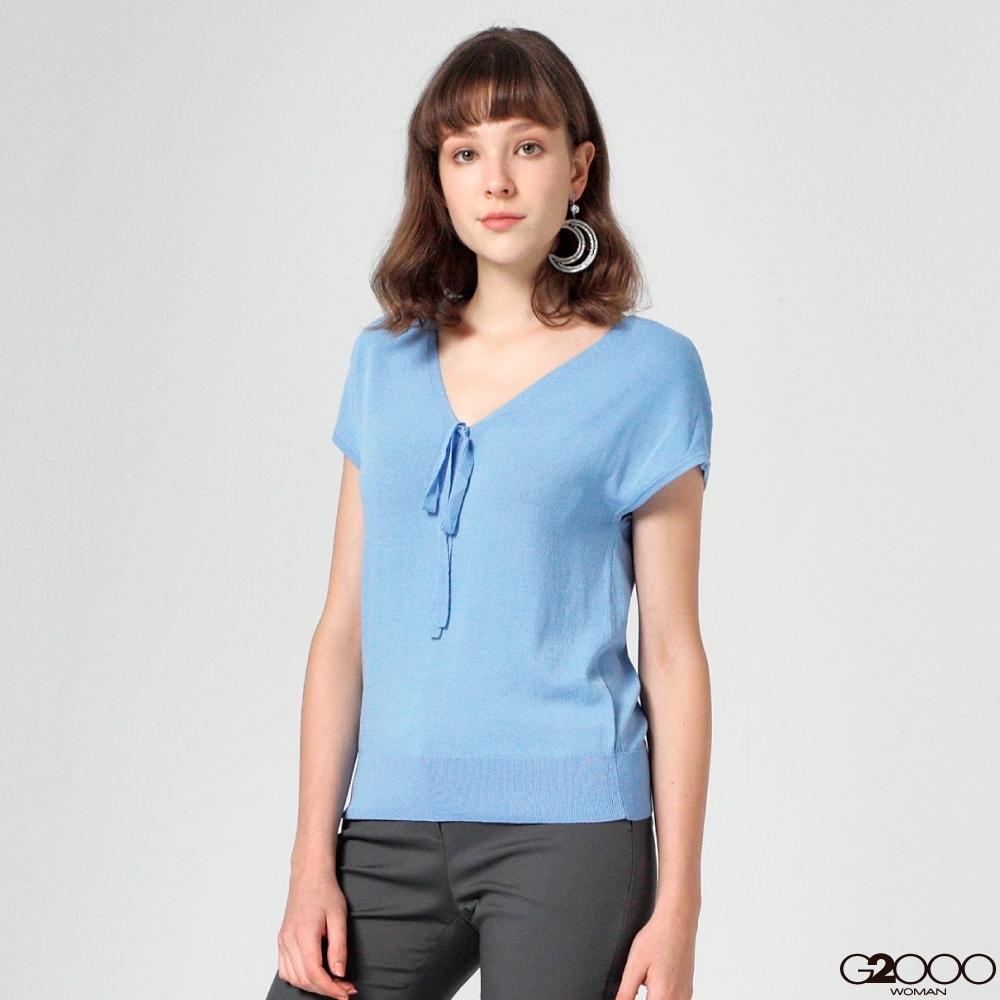 G2000素面短袖針織衫-藍色