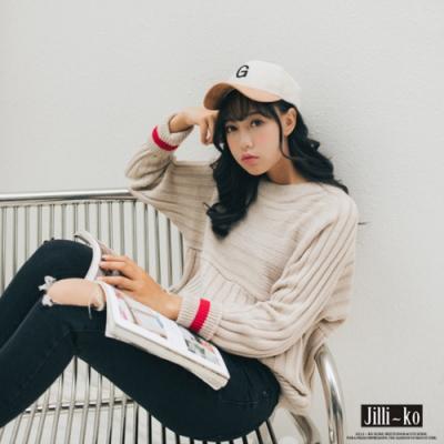 JILLI-KO 韓版撞色翻袖針織衫- 杏色