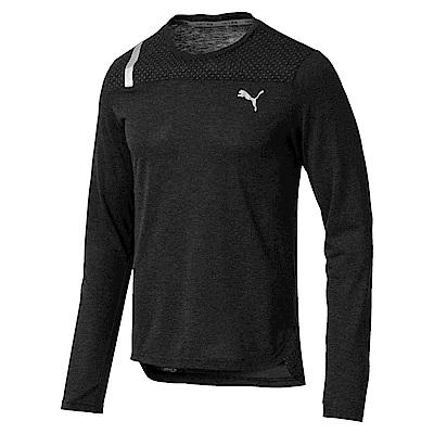 PUMA-男性慢跑系列保暖長薄T恤-黑色(麻花)-亞規