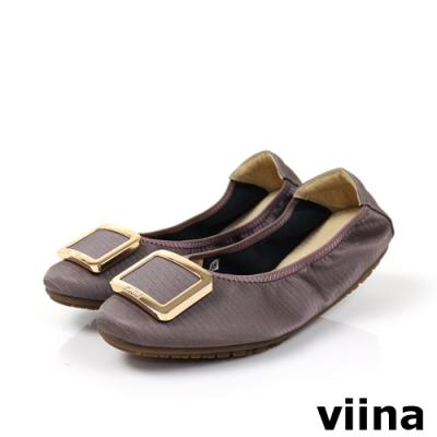 viina 方頭蜥蜴紋金邊方釦摺疊娃娃鞋-暗藕粉