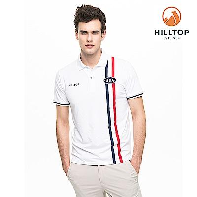 【hilltop山頂鳥】男款吸濕快乾抗菌彈性POLO衫S14MG3明亮白