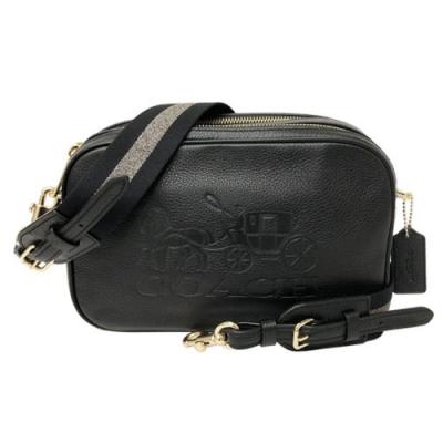 COACH 2019新款大馬車雙拉鍊斜背包相機包(時尚黑)