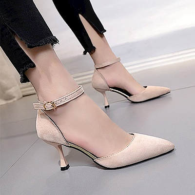 KEITH-WILL時尚鞋館 明星同款波濤花香小尖細跟鞋-米白