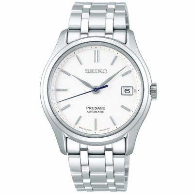 SEIKO 精工 Presage經典機械手錶SRPD97J1-白X銀/38mm