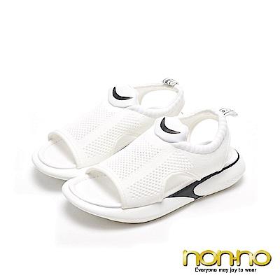 nonnon 彈性布面 個性休閒運動風涼鞋 白