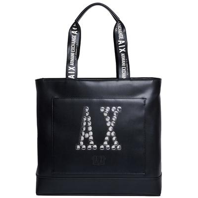 A|X ARMANI EXCHANGE 銀色鉚釘字母LOGO圖騰手提肩背托特包(黑)