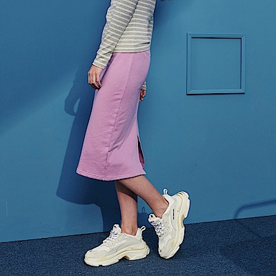 CACO-鬆緊腰素色窄裙-(兩色)-女【RSH102】