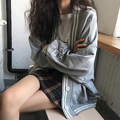 DABI 韓國風撞色字母寬鬆百搭單品外套