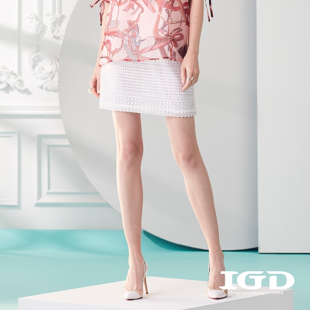 IGD英格麗 浪漫蕾絲打褶短裙-白