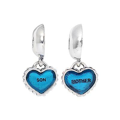 Pandora 潘朵拉 魅力母子愛心藍色琺瑯 垂墜純銀墜飾對組 串珠