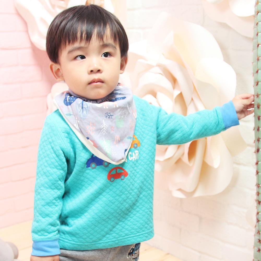 【QBabe】柔軟雙層加絨保暖三角口水圍巾-灰色狐狸 @ Y!購物