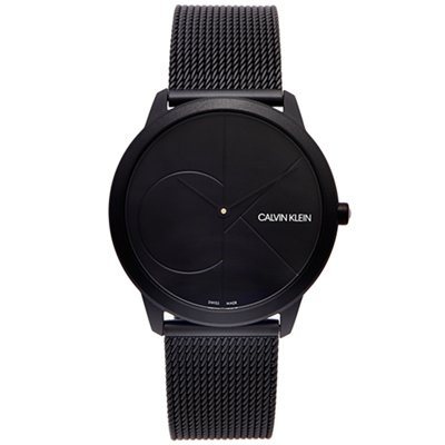 CK Calvin Klein 極簡LOGO米蘭帶手錶(K3M514B1)-黑面/40mm