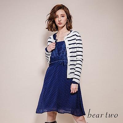 beartwo 公主風點點網紗拼接蕾絲洋裝(藍色)
