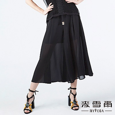【麥雪爾】珍珠綁帶雪紡寬褲裙