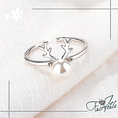 iSFairytale伊飾童話 聖誕鹿角 珍珠開口戒指