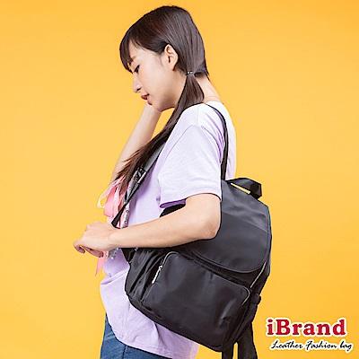 iBrand後背包 輕時尚翻蓋多功能尼龍後背包-黑