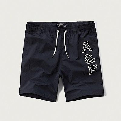 麋鹿 AF A&F 經典印刷文字海灘短褲-深藍色