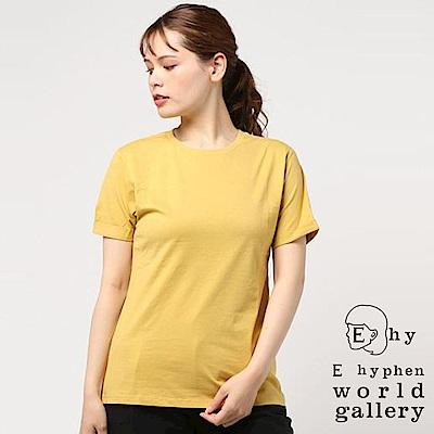 E hyphen 捲袖簡約素面圓領T恤