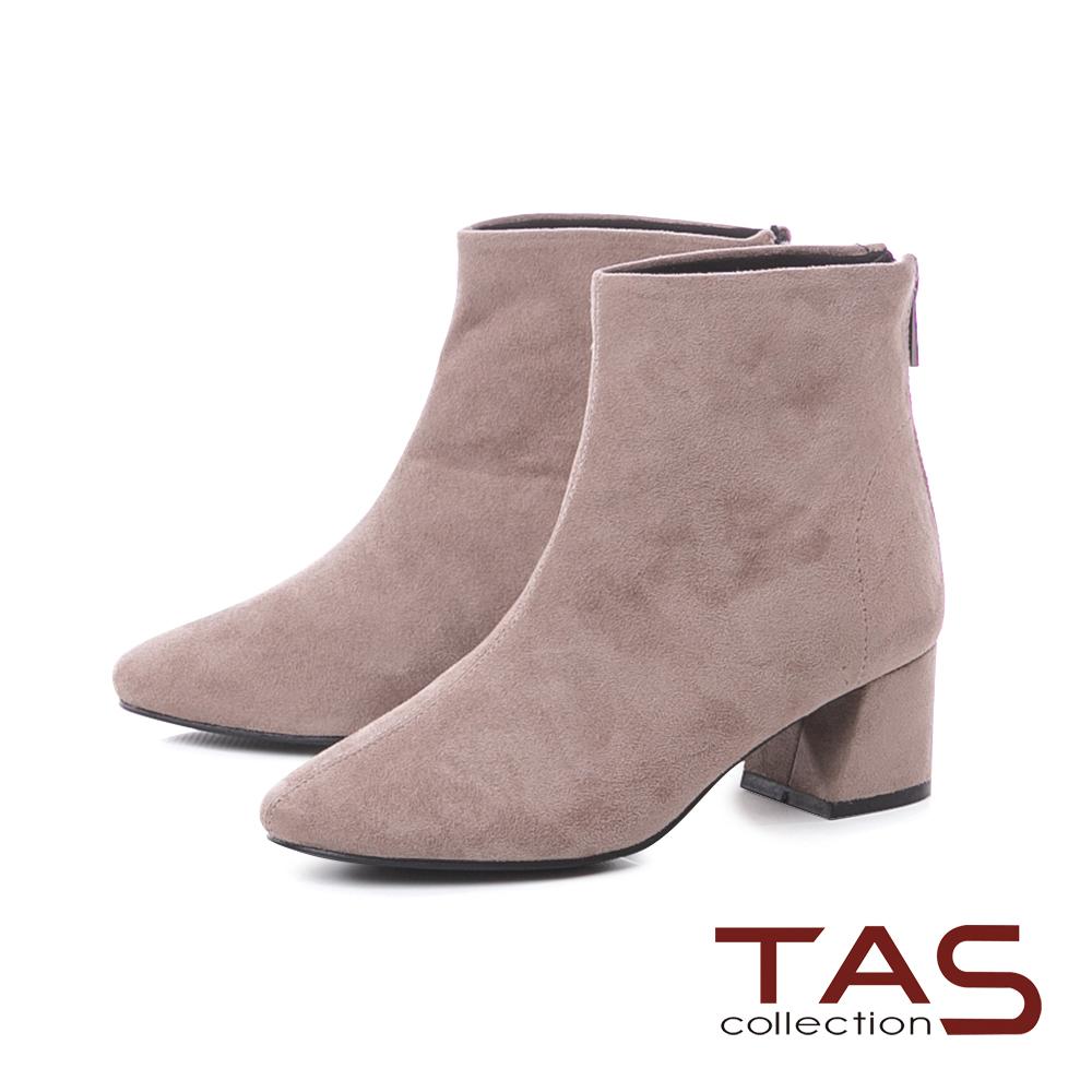 TAS素面絨布後拉鍊粗跟短靴-冬季灰