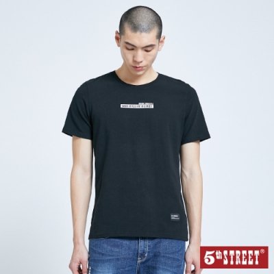 5th STREET 後錯位LOGO印花 短袖T恤-男-黑色