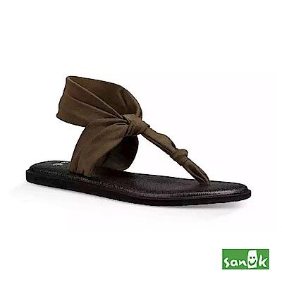 SANUK 輕量設計瑜珈墊人字涼鞋-女款(墨綠色)
