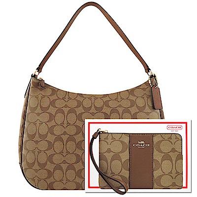 COACH 焦糖色大C PVC側肩包-大型+COACH 咖啡色大C PVC手拿包