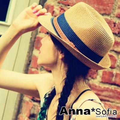 AnnaSofia 雙色拼辮帶 防曬遮陽紳士帽爵士帽草帽(駝系)