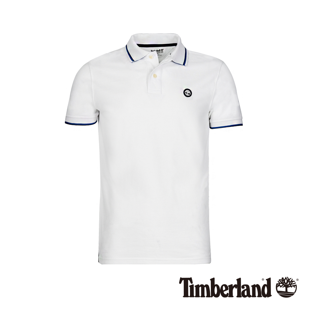 Timberland 男款白色撞色立領短袖POLO衫|A1XEC