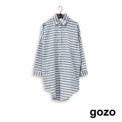 gozo-橫條紋長版落肩襯衫(二色)