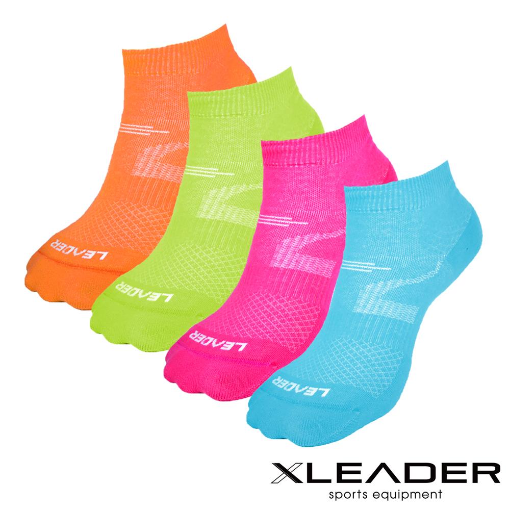 LEADER 女款 運動專用薄型除臭機能襪 超值8入 (桃4綠2橘2)