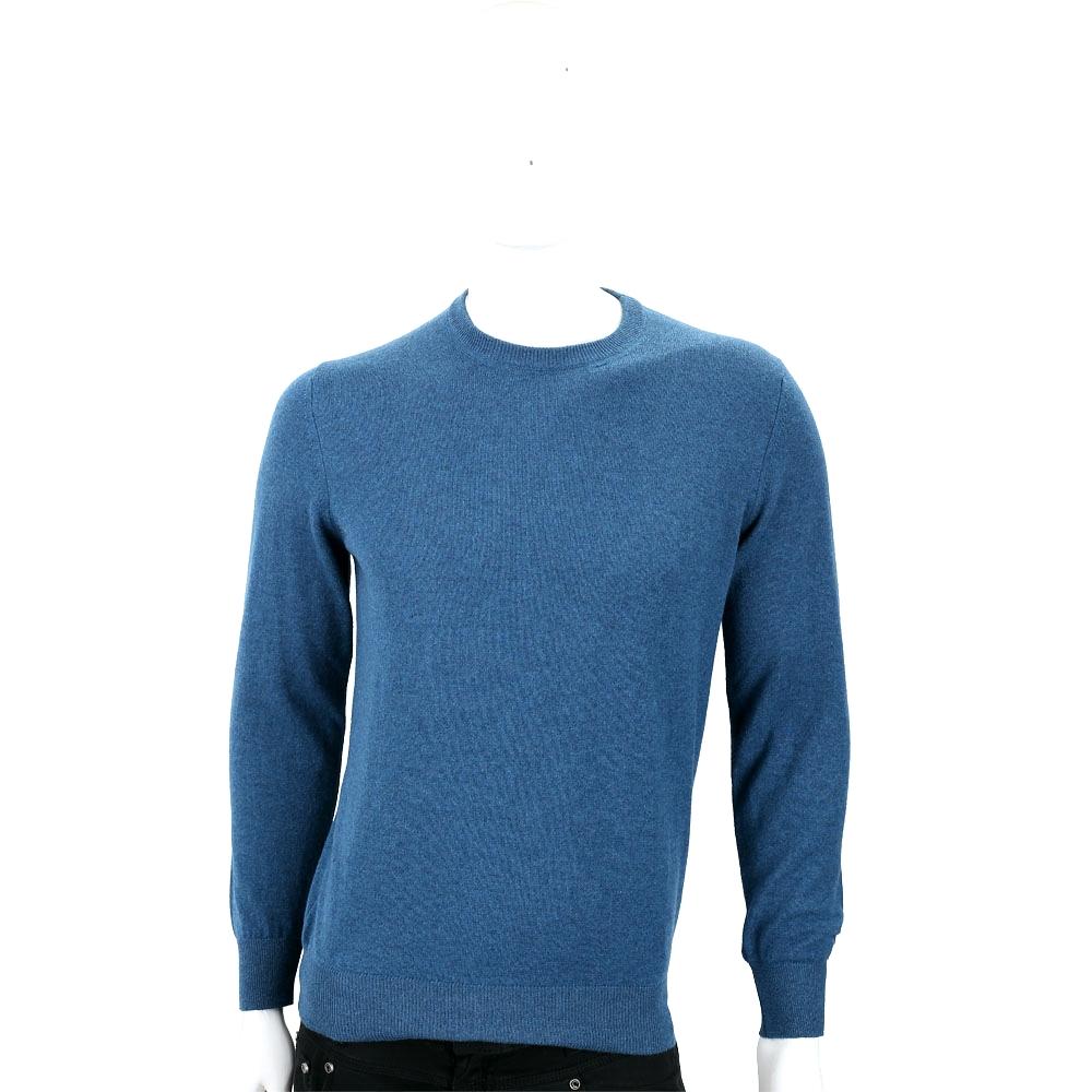 Andre Maurice 喀什米爾孔雀藍圓領羅紋細節羊毛衫(男款)