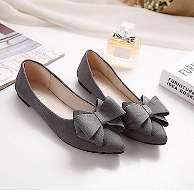 KEITH-WILL時尚鞋館 韓名媛唯美純淨尖頭平底鞋-灰色