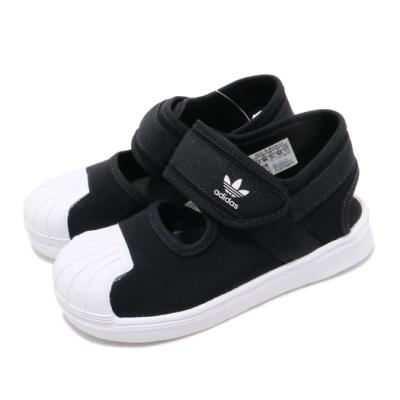 adidas 涼鞋 Superstar 360 Sandal 童鞋 愛迪達 三葉草 魔鬼氈 外出 輕便 黑 白 EG5711