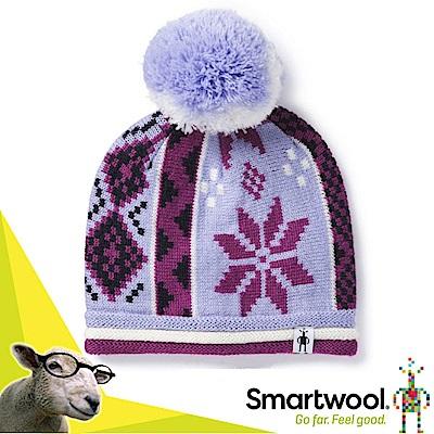 美國 SmartWool 兒童美麗諾羊毛冬日雪花毛帽_霧紫