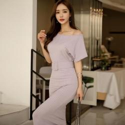 IMStyle 性感紫羅蘭斜肩顯瘦連身洋裝