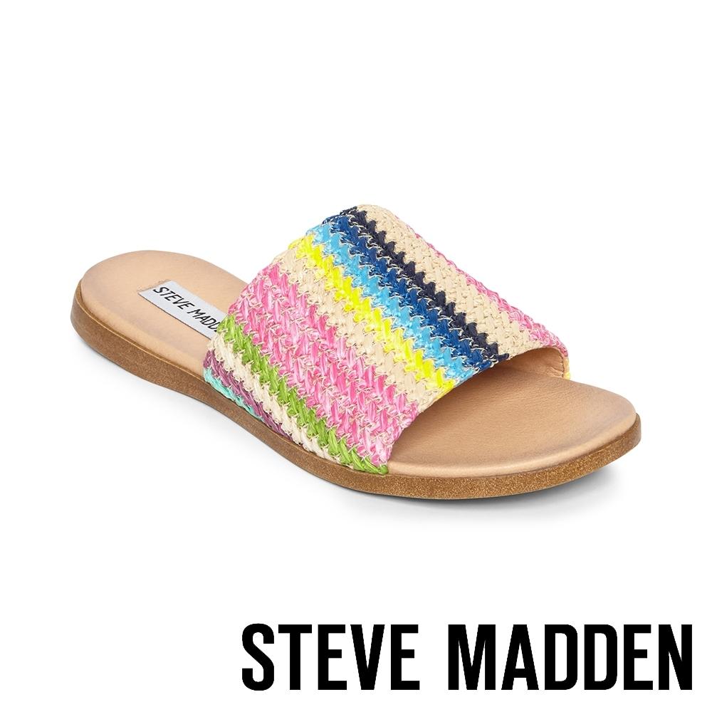 STEVE MADDEN-OCEANA 夏日一字寬版編織平底拖鞋-彩色
