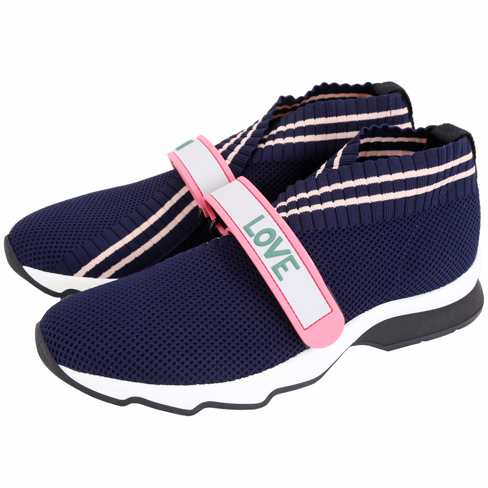 FENDI Rockoko 彈力紗面料橡膠標籤飾運動鞋(藍色)