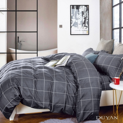 DUYAN竹漾 MIT 天絲絨-雙人床包被套四件組-城市光廊
