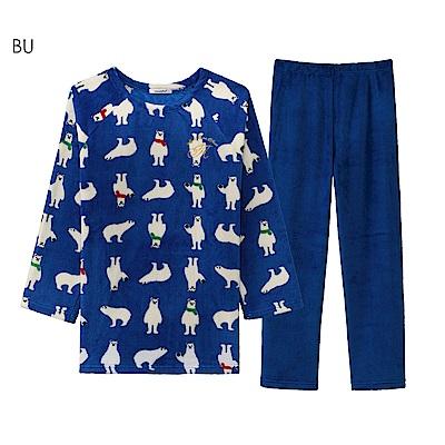 aimerfeel 搖粒絨成套睡衣-藍色-822379-BU