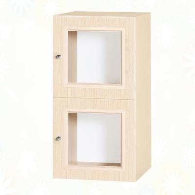 文創集 克爾 環保1.3尺南亞塑鋼雙開門二層格中置物櫃/收納櫃-40.4x41.5x80.8cm免組