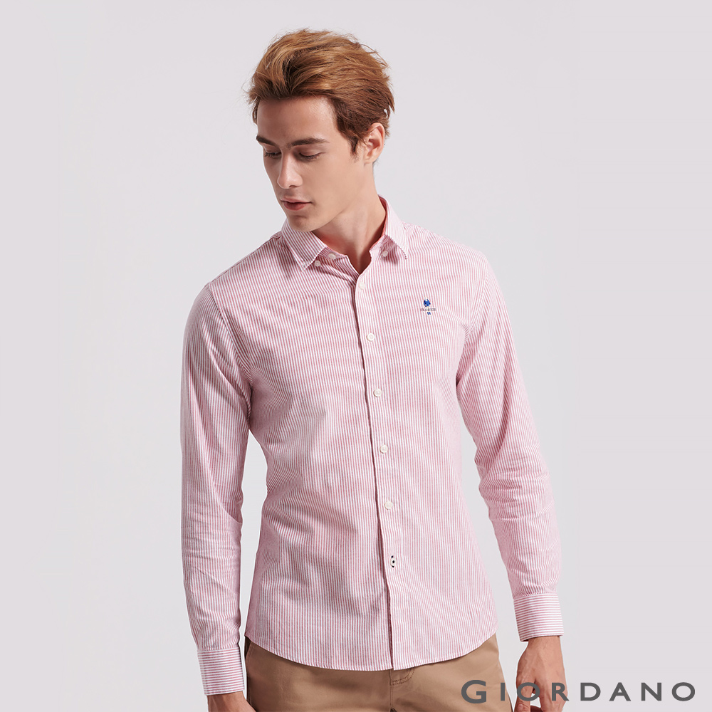 GIORDANO 男裝經典刺繡彈力牛津紡長袖襯衫-66 紅色X白色條紋