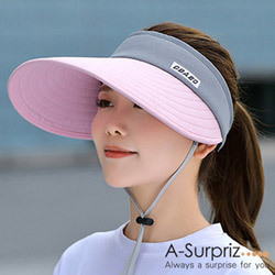 A-Surpriz 柔美雙色拼接空頂遮陽帽(粉+灰)