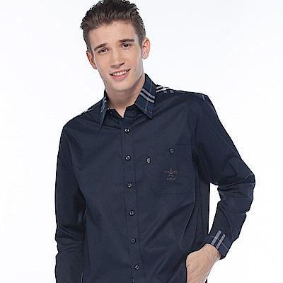 歐洲貴族oillio 長袖襯衫 時尚穿搭 質感襯衫 藍色