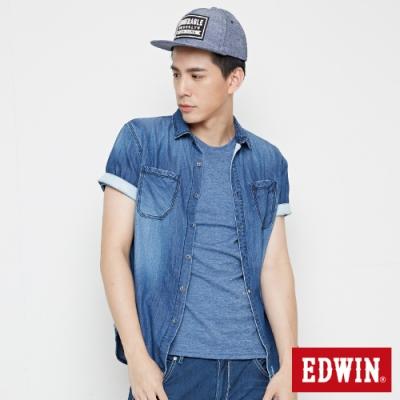 EDWIN 雙貼袋牛仔襯衫-男-拔淺藍