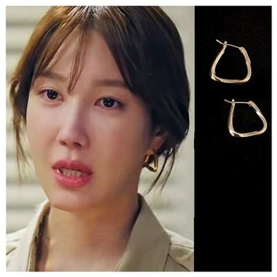 梨花HaNA 頂樓2女主角李智雅沈秀蓮梯型極簡金耳環
