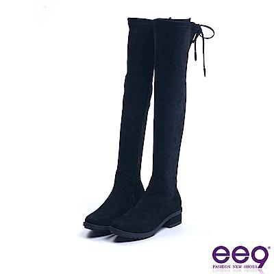 ee9 典雅簡約素面百搭防水台方跟膝上靴 黑色