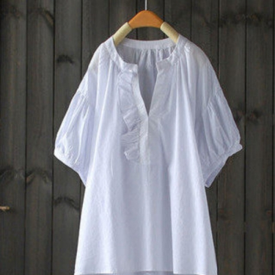 荷葉拼接立領純棉襯衫半袖套頭上衣-設計所在