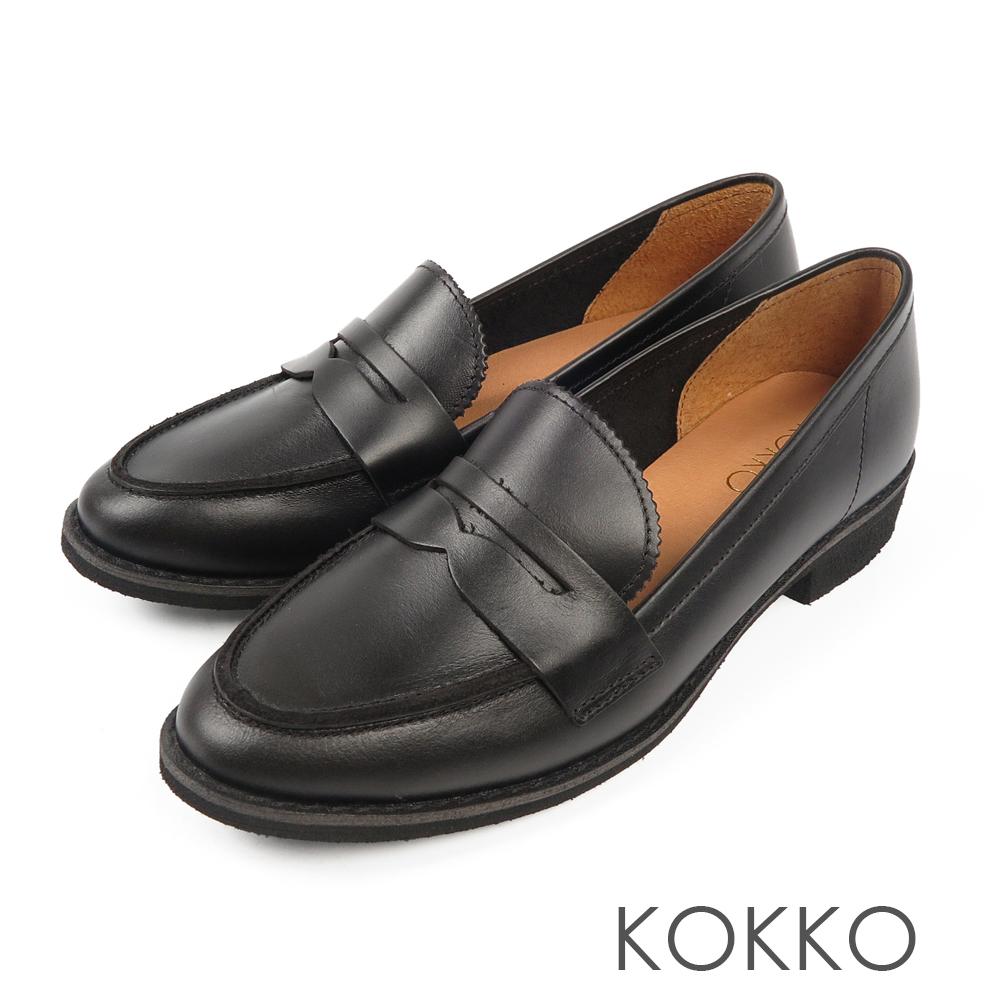 KOKKO -英倫學院牛皮樂福平底鞋 - 極致黑
