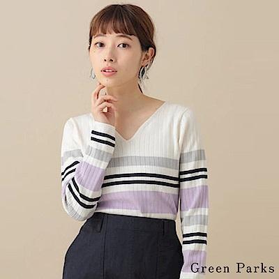 Green Parks V領條紋配色針織上衣