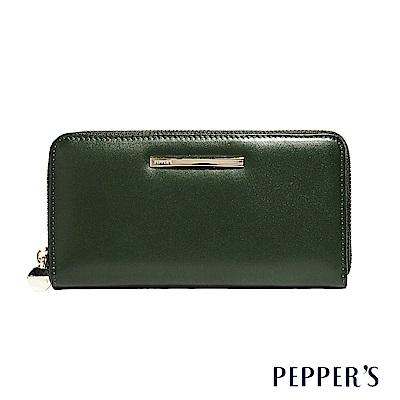 PEPPER`S Raven 牛皮拉鍊長夾 - 橄欖綠